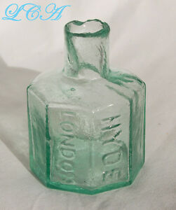 Antique embossed HYDE LONDON Ink Well AQUA, OLD burst top & attractive 8 sided!