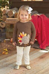 Mud Pie MH6 Thanksgiving Baby Toddler Girl Turkey Tunic & Legging Set 1112299