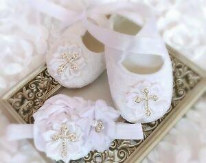 Baby-Girl-White-Christening-Baptism-Shoes-Cross-Satin-Flower-Headband-Set