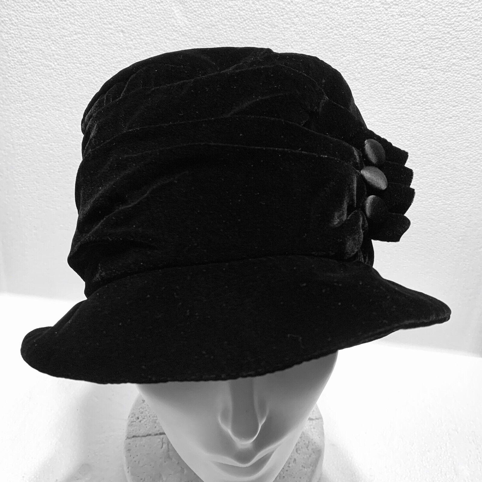 Vintage Liz Claiborne Black Bucket Hat Velvet Look Satin Buttons
