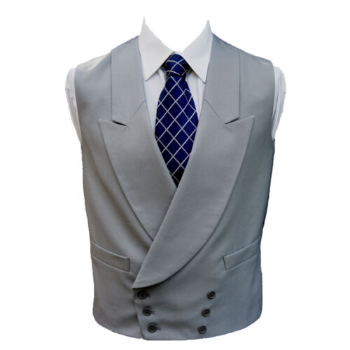 "100% Wool Double Breasted Dove Grey Waistcoat 50"" Long"