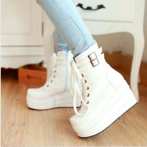 Punk-Goth-Ankle-Boots-Women-039-s-High-Platform-Wedge-Heels-Lace-Up-Shoes-Puls-Size