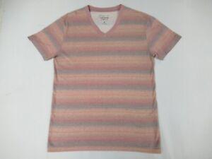 Nwot-Lucky-Brand-California-Luce-Arancione-amp-Rosso-Righe-S-T-Shirt-V-Neck-D246