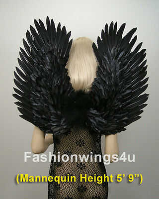 Duo Use BLACK swan raven crow costume feather angel wings pointing up or down