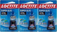 3 Loctite Super Glue Ultra Gel Control Clear High Strength 4 Grams 1363589