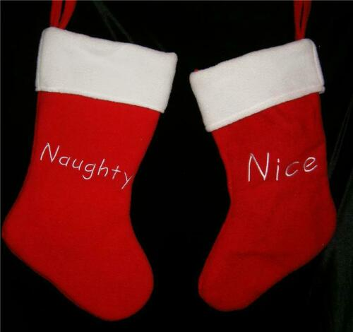 Christmas Stocking Reversible 2 Sided Naughty Nice Red White NEW