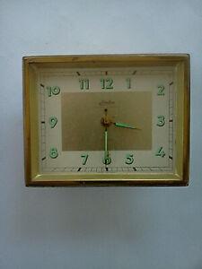 Vintage-Linden-Black-Forest-Brass-Desk-Alarm-Clock-West-Germany-WORKS-amp-NICE