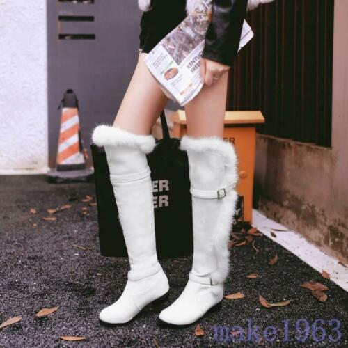 womens winter over knee boots rabbit fur leather warm snow med heels Shoes size