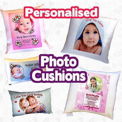 Personalised photo cushions complete with filling