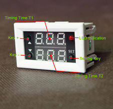 12V Timing Timer Delay Cycling Digital Dual Display Relay Module 0-999h White