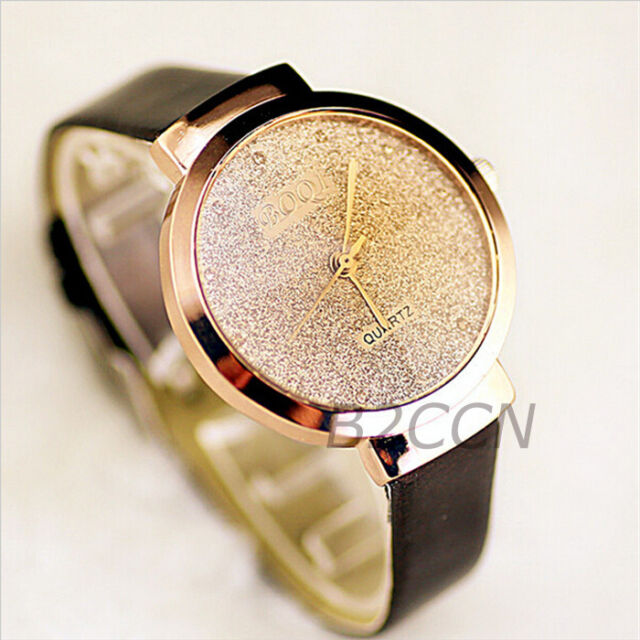 Luxury Watch Women Bling Crystal Leather Analog Quartz Ladies Dress Wrist Watch
