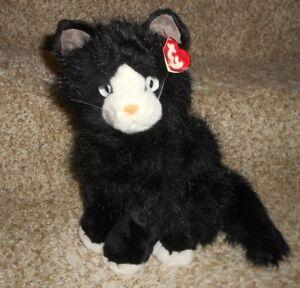 VINTAGE 1999 TY SHADOW BLACK   WHITE KITTY CAT STUFFED ANIMAL PLUSH ... 3e51a3e1cbc0