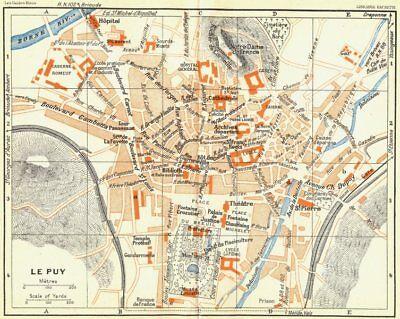 Maps, Atlases & Globes Dynamic France Le Puy 1926 Old Vintage Map Plan Chart
