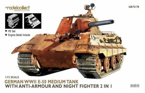 Modelcollect 1:72 German WWII E-50 Medium Tank with Anti-Armour Night Figh 72178