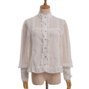 13c872054cc68 Women Blouse White Tops Long Sleeve Shirt Stand Collar Lace-up Cuff ...