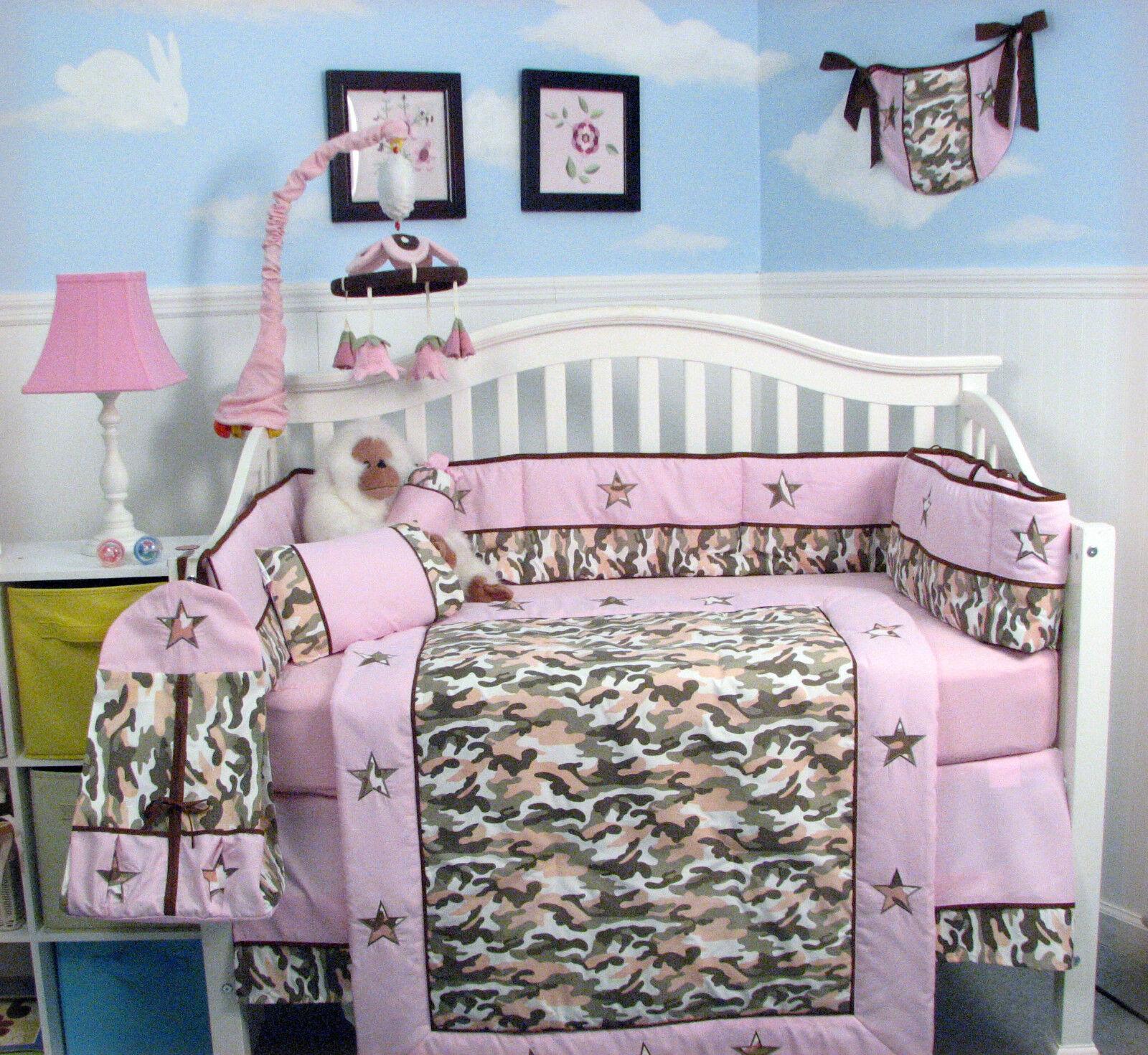 Khaki /& Light Pink Camo Baby Crib Nursery Bedding 13 pcs Set included Diaper Bag