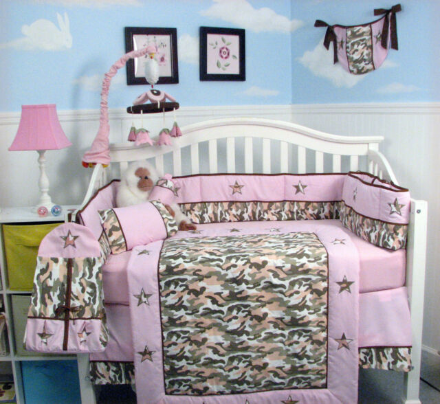 Khaki Light Pink Camo Baby Crib Nursery Bedding 13 Pcs Set Included Diaper Bag