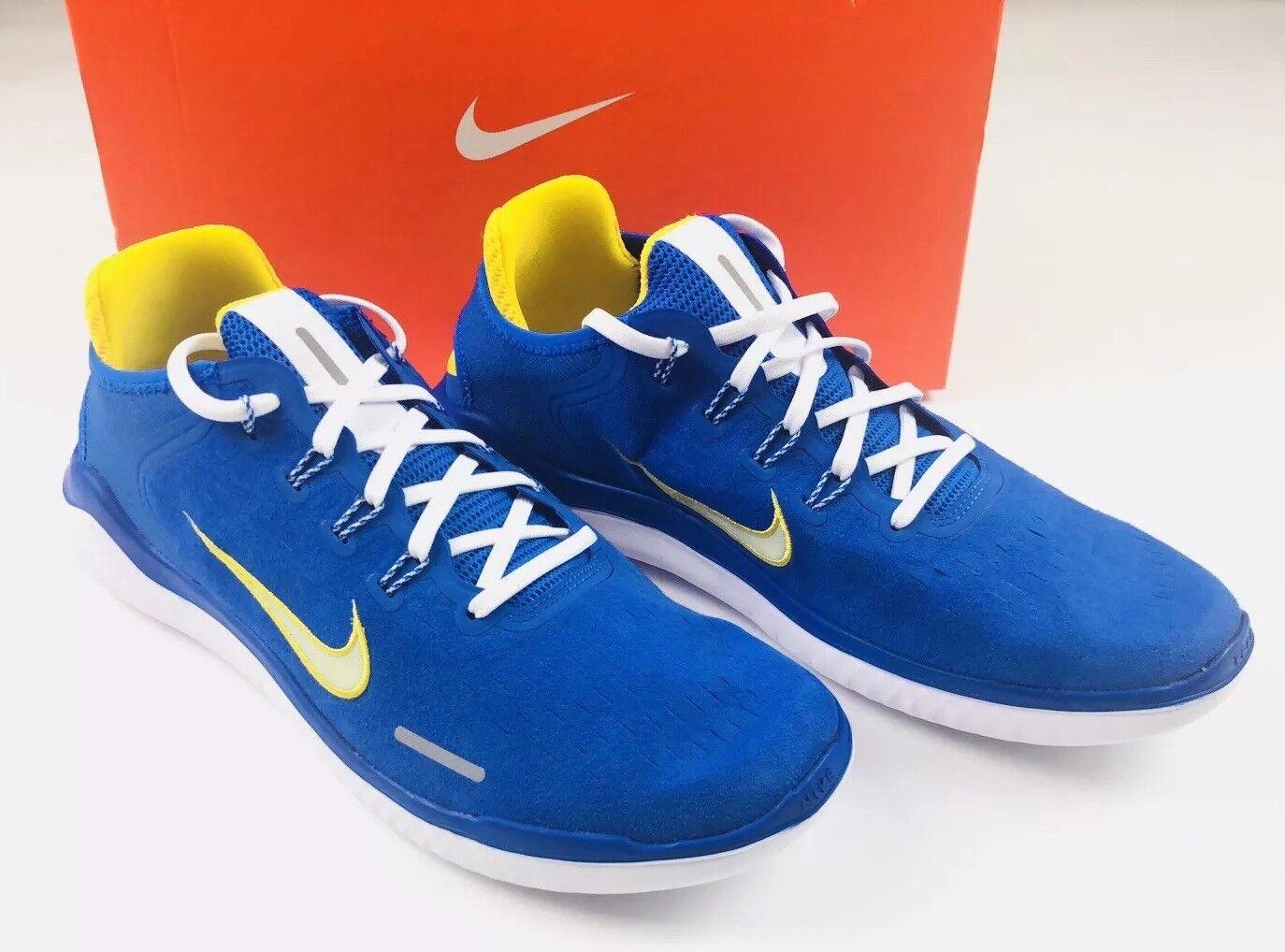 New Nike Free Run RN 2018 DNA shoes bluee Cobalt Citron AH7870 400 Mens Sz 11