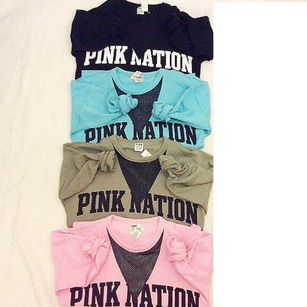 New VICTORIA'S SECRET PINK NATION Campus Crew Mesh Sweat Shirt Limited Edition