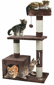 Pet Cat Tree Tower Condo Scratcher Furniture Kitten House Cat Toy Play Brown
