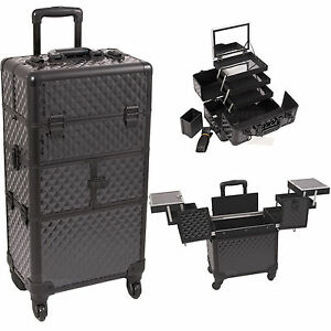 2 In 1 Professional Rolling Makeup Train Case Aritst Storage