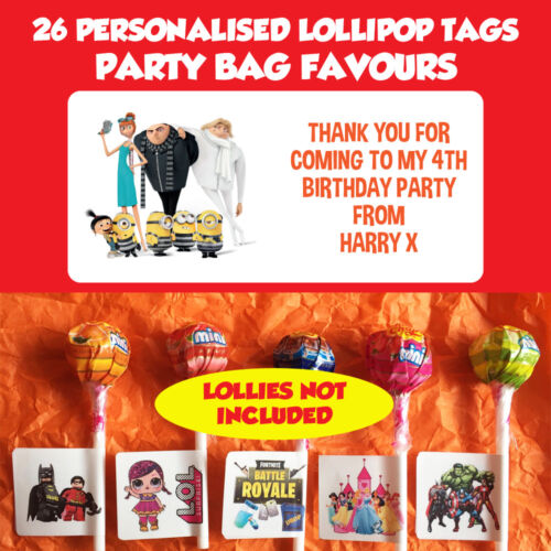 26 Personalised Minions Lollipop Stick Birthday Party Favour Stickers