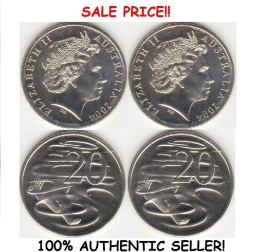 PAIR OF REAL DOUBLE SIDED AUSTRALIAN 20 CENT COIN 1 Two Headed 1 Two Tailed Coin