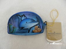Anuschka Hand Painted  Accessories Luxury Leather Coin Pouch & Key Holder Wallet