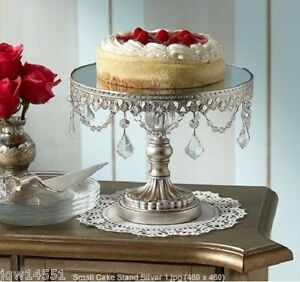 Antique Cake Stand Silver Small Pedestal Plate Wedding