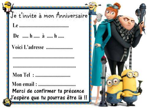 5 cartes invitation anniversaire  Moi Moche et Méchant 03   Minions