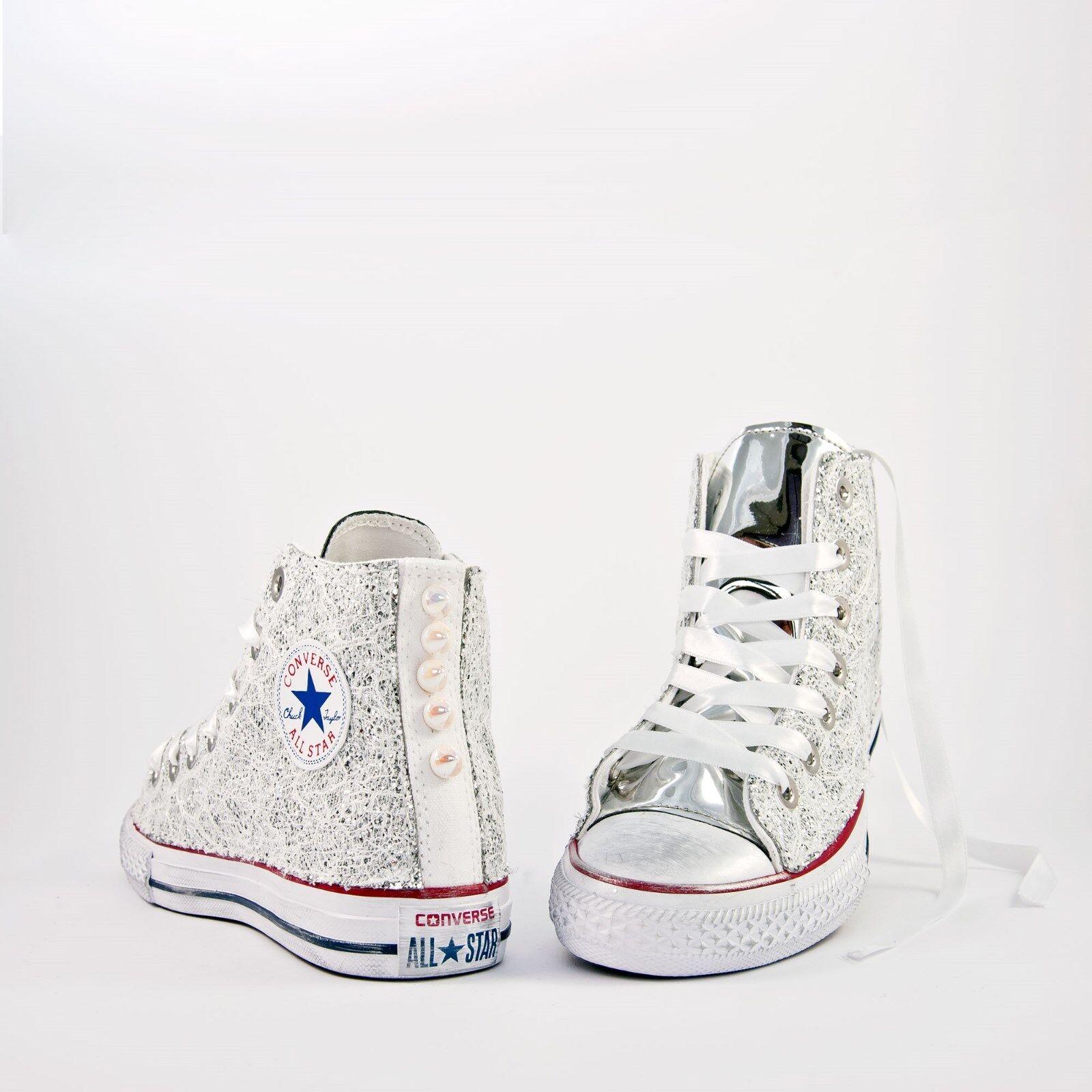 Converse All Star mit Silber-Glitter Spitze und Weiß Verspiegeltes Glas Mehr '
