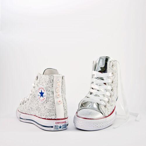 b0281f9e431c1 Pizzo Converse All Piu  Bianco Perle Specchiato Star Argento E Glitter Con  wXO4UqX