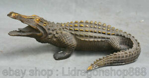 9-6-034-Vieux-Bronze-Chinois-Feng-Shui-Animal-Lacoste-Alligator-Statue-de-crocodile