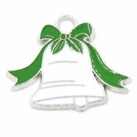 10Pcs Enamel Silver Plated Christmas Bell Charms Xmas Pendants Jewellery Making