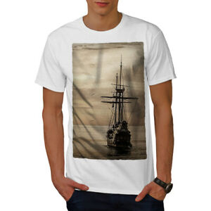Wellcoda-Ship-Old-Ocean-Vintage-Mens-T-shirt-Sea-Graphic-Design-Printed-Tee