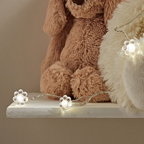 10 Warm White LED Flower Battery Operated Indoor Bedroom Fairy String Lights