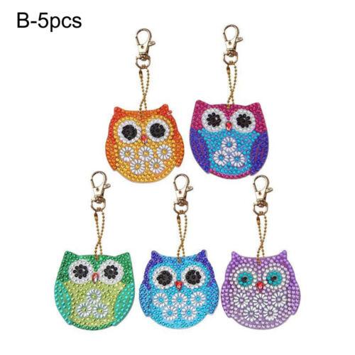 Xmas Ornament Owl Christmas Keychain Diamond Painting Cross Stitch Keyring