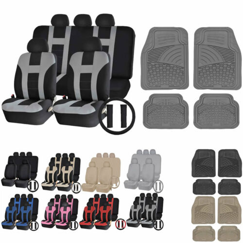UAA Ultra HD VAN Rubber Mats /& Dual-Stitch Racing Polyester Seat Covers Set
