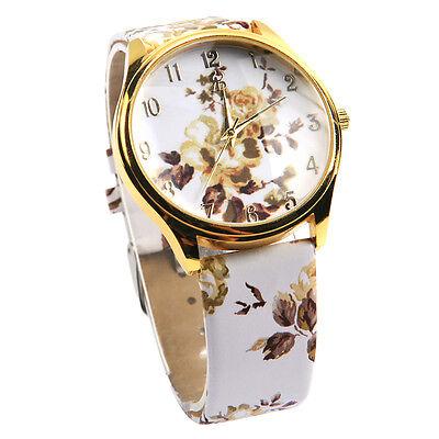 Women's Faux Leather Rose Flower Floral Watch Quartz Watches Dress New