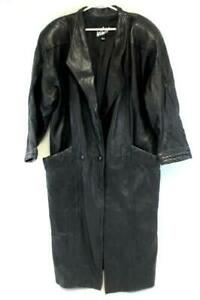 Vtg-WinLit-Lined-Long-Black-Heavy-Leather-Trench-Coat-Button-Front-Women-039-s-Large