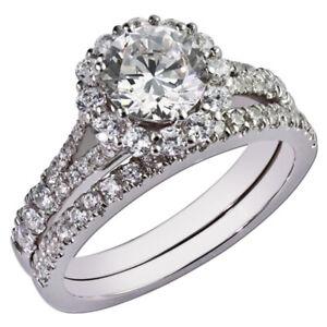 1.50 Ct Round Cut Moissanite Band Set 14K Real White Gold Wedding Ring Size 5.5