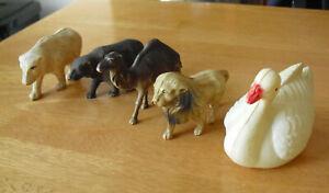 Lot of 5 Vintage 1930s Celluloid Animal Figures Camel Bear Bears Lion Swan
