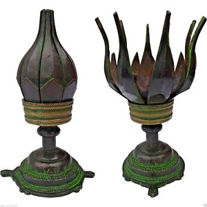 ANTIQUE-Style-Opening-Lotus-Incense-Cone-Burner-From-India-Hippy-Boho-Nag-Champa