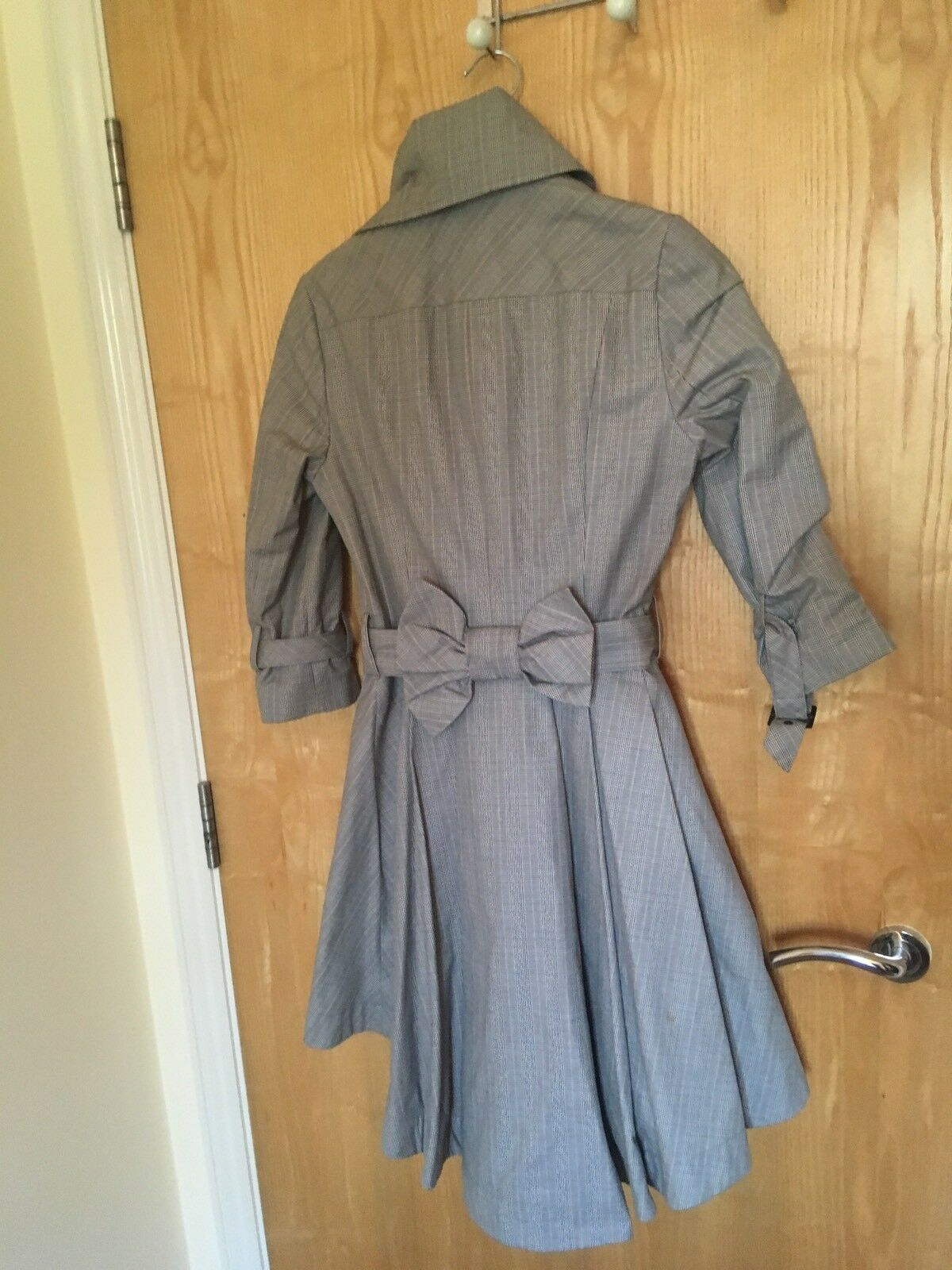 Topshop Formal Evening Smart Work Coat Dress Bow Grey Grey Grey Pattern Worm Once 87abe7