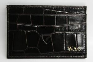 ASPINAL-OF-LONDON-Brown-Croc-Leather-Card-amp-ID-Holder-Wallet-With-Initials-NEW