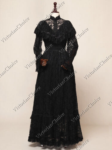 Victorian Costumes: Dresses, Saloon Girls, Southern Belle, Witch    Black Long Edwardian Victorian Vintage Lace Party Ball Dress Steampunk N 392 $165.00 AT vintagedancer.com