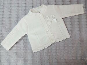 White with Satin Bow Pex ELVA Baby Girls Spanish Knit Cardigan