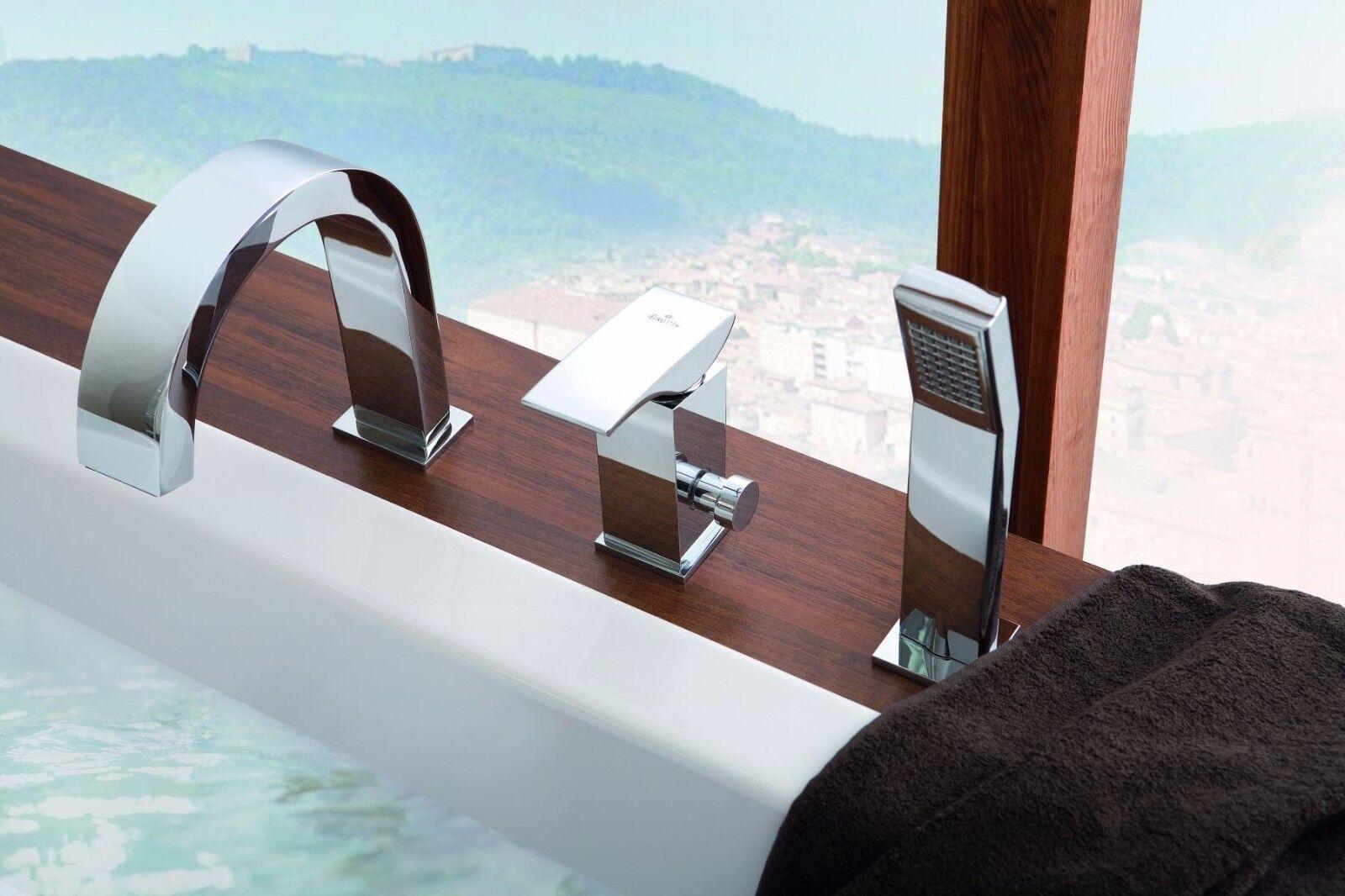 Moderne Designer 3-Loch Wannenarmatur Badewannen Wannenrand Armatur BQM Brause