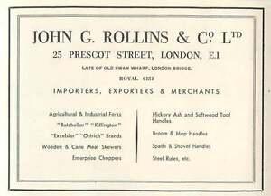 1953-John-G-Rollings-amp-Co-Ltd-Prescot-St-London-Importers-Ad