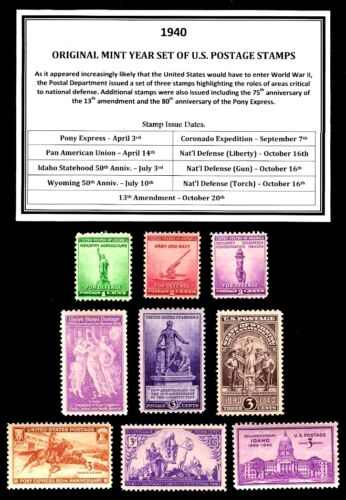 1940 - 1949 COMMEMORATIVE DECADE SET OF MINT -MNH- VINTAGE U.S. POSTAGE STAMPS